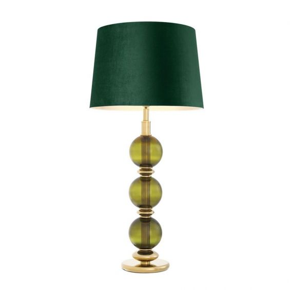 Green glass, gold finish table lamp with green velvet shade
