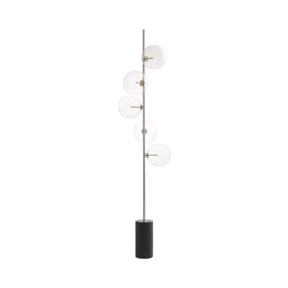 Modern, nickel finish floor lamp with 5 glass lampshade detailing and black marble base