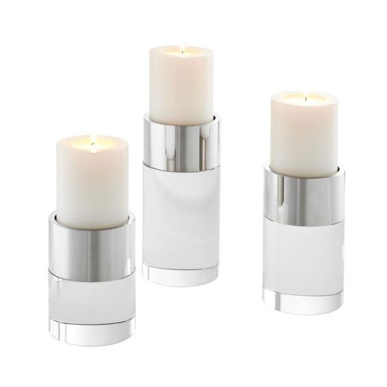 Set Of 3 Glass And Nickel Candle Holders