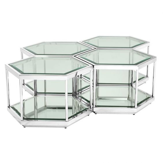 Luxury silver hexagonal shaped 4 in 1 coffee table with glass top