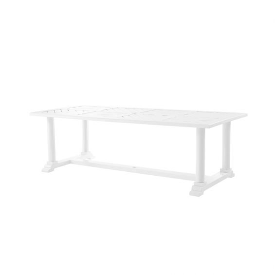 a large rectangular outdoor dining table in white