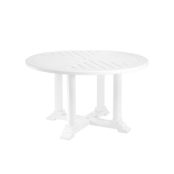 round outdoor dining table in white finish - 130 cm