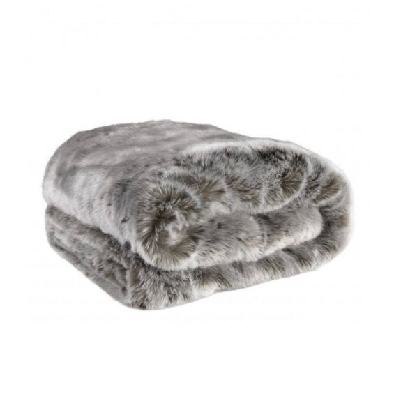 A luxurious cosy grey faux fur throw with a wool blend backing