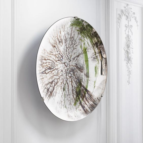 Concave mirrored glass, antique silver decorative wall objective