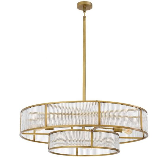 glamorous two-tier chandelier with antique brass finish