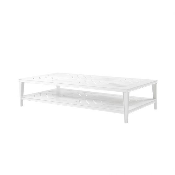 rectangular outdoor coffee table in white finish