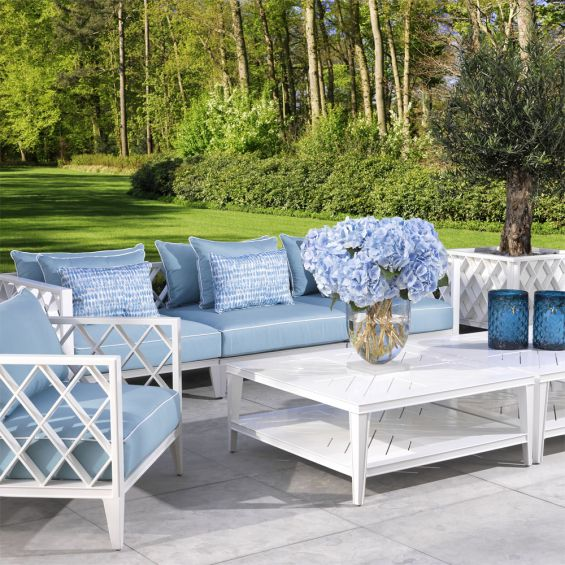 white, square outdoor coffee table