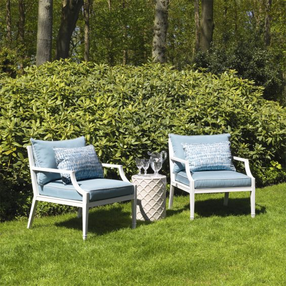 modern, classic outdoor white and blue garden chair