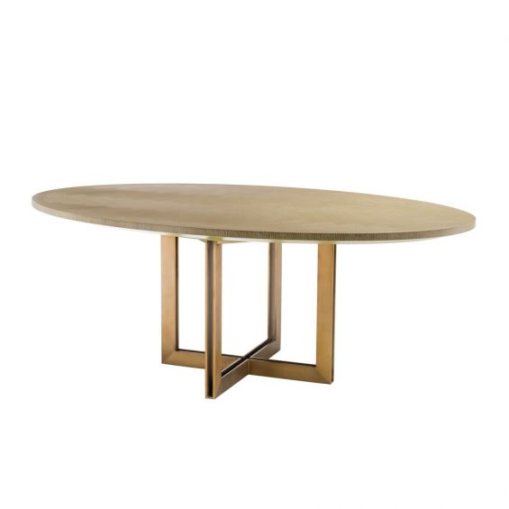 washed oak oval table with brushed brass frame