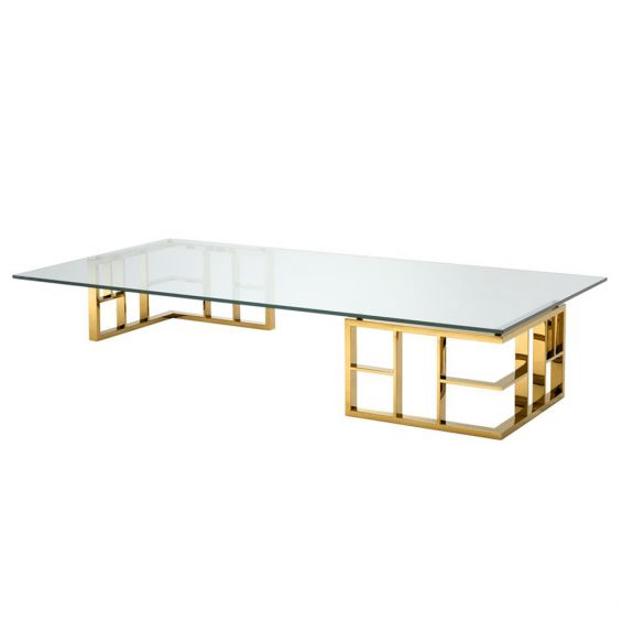 Clear glass rectangular coffee table with gold finish