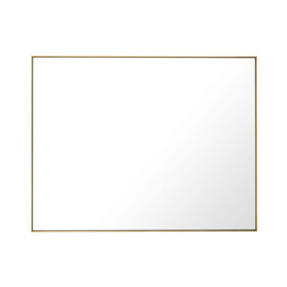 large, rectangular contemporary mirror with brushed brass finish