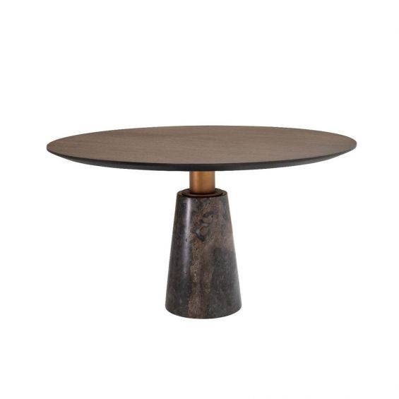 brutalist-inspired, round dining table with marble base and oak surface