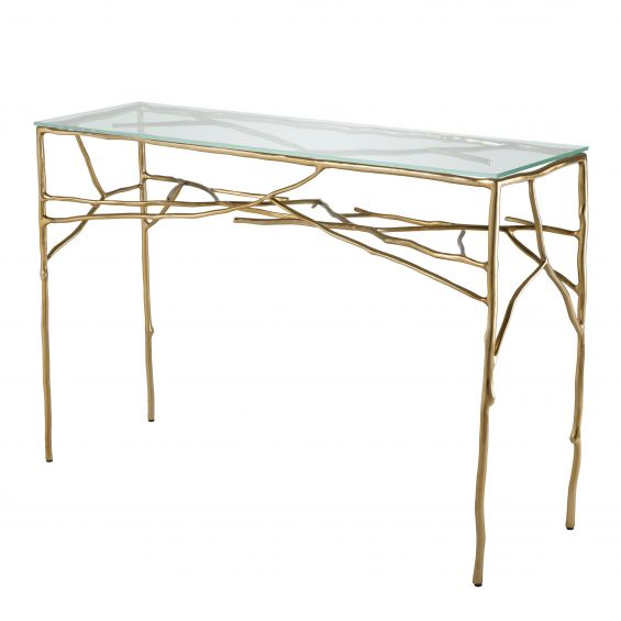 clear console tabletop with branch-like frame in gold finish