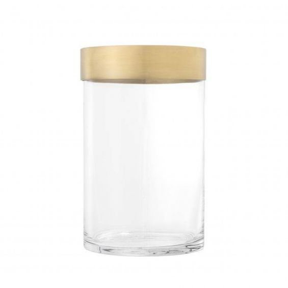 small glass candle holder with bronze rim