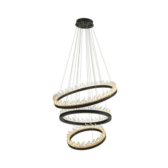 suspended three-tiered crystal glass chandelier with bronze finish