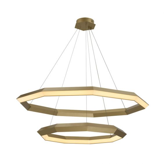 A glamorous contemporary two-tiered LED chandelier