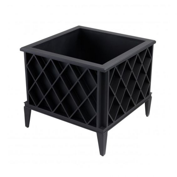 black, square outdoor planter with diamond pattern by Eichholtz