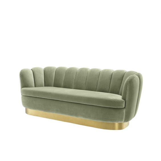 green art deco sofa with brushed brass plinth