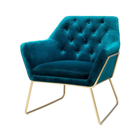 glamorous blue velvet chair with brushed brass frame and deep-buttoning
