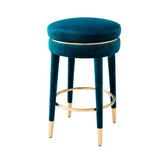 blue and brass art deco inspired counter stool