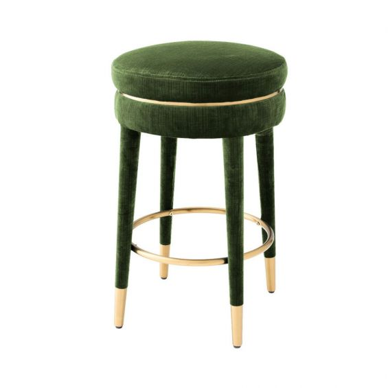green and brass art deco inspired counter stool