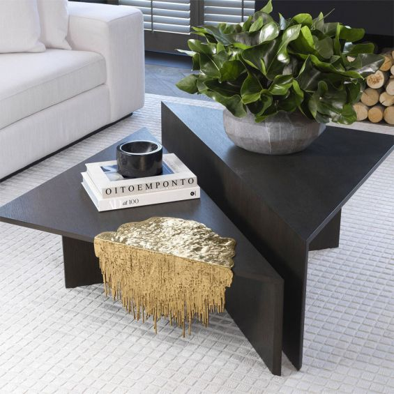 a stunning polished brass table accessory