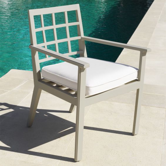 Contemporary neutral-toned outdoor dining chair with arms by Eichholtz