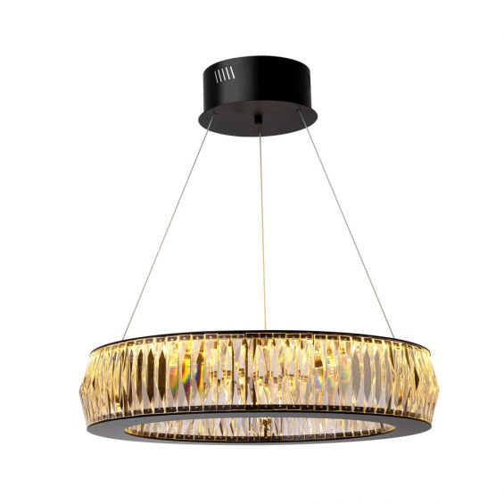 round, modern luxe chandelier with crystal glass and a matte, black finish