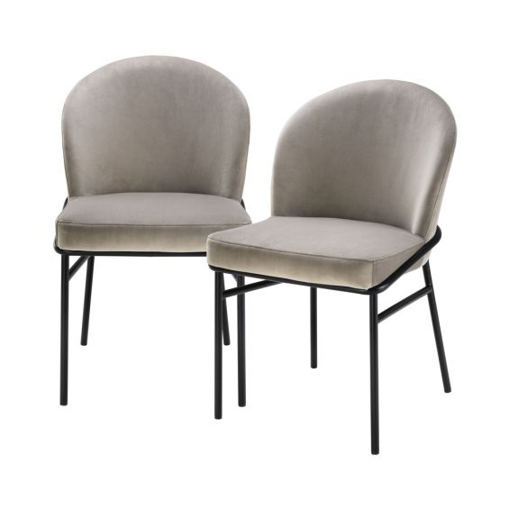 contemporary greige dining chair with black legs