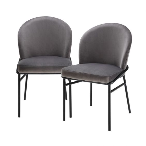 contemporary grey dining chair with black legs