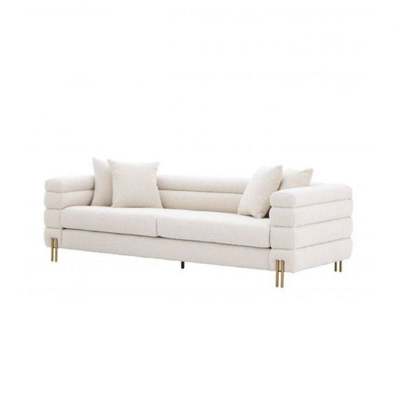 luxurious cream-coloured art deco sofa with boucle upholstery