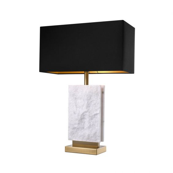 white marble lamp with black lampshade and brass accents