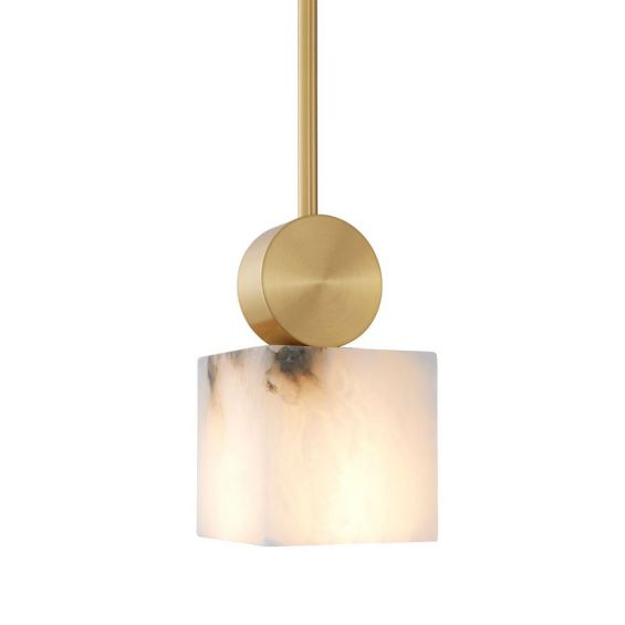square hanging alabaster pendant with brushed brass pole