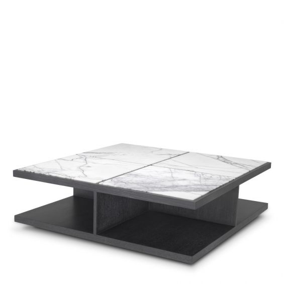 White marble effect coffee table top on grey oak base