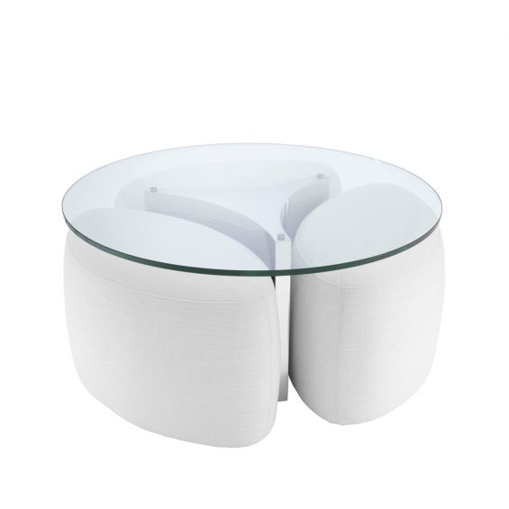 Clear glass coffee table with stainless steel frame and white fabric removable base