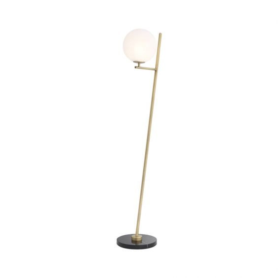 Eichholtz antique brass finish floor lamp with an angular structure and black marble base