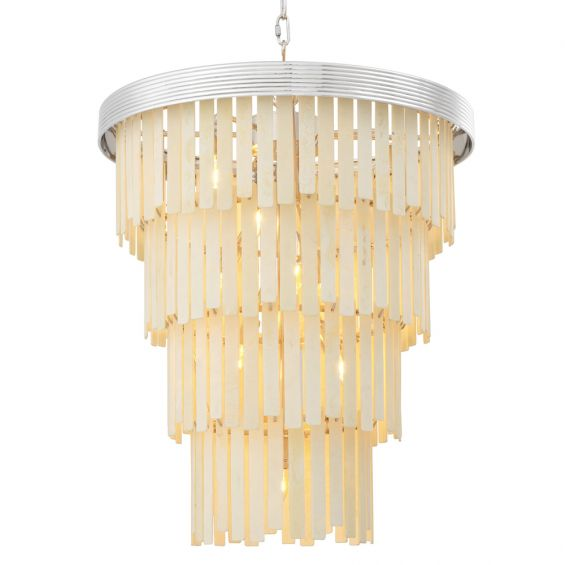 A glamorous contemporary faux bone tiered chandelier with nickel accents