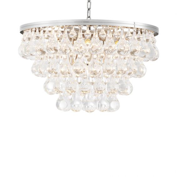 Luxurious nickel finish chandelier with 4 tier glass droplets