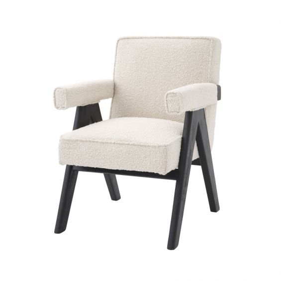 Luxurious boucle cream fabric dining chair with black frame