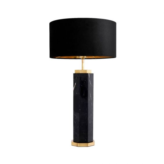 black marble table lamp with antique brass accents and a black lampshade
