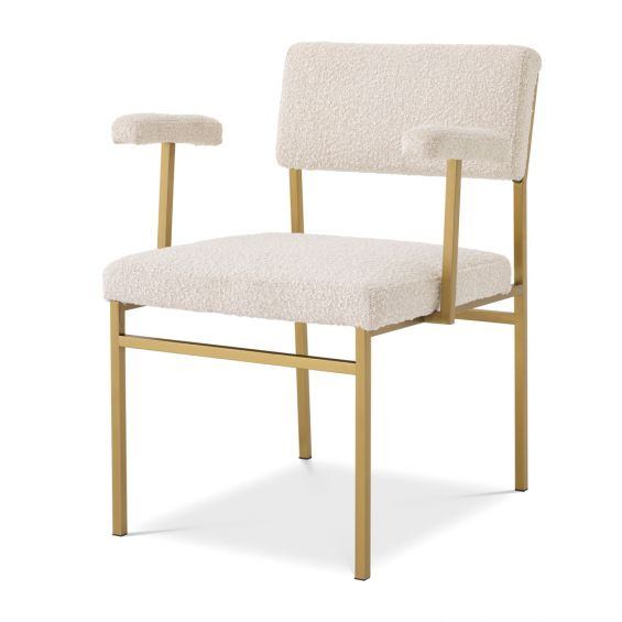 Modern cream boucle upholstered chair with brushed brass finish by Eichholtz