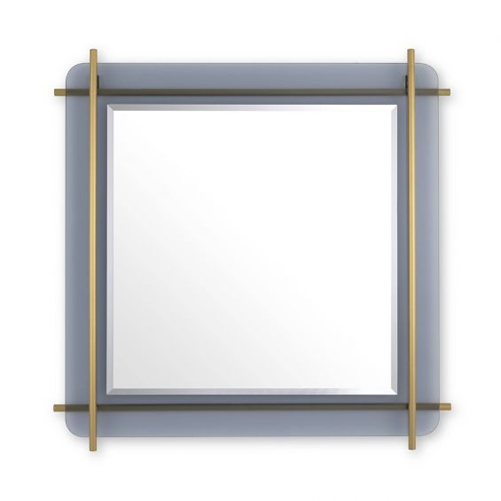 Luxury modern wall mirror with brass metal rods and smoke glass finish
