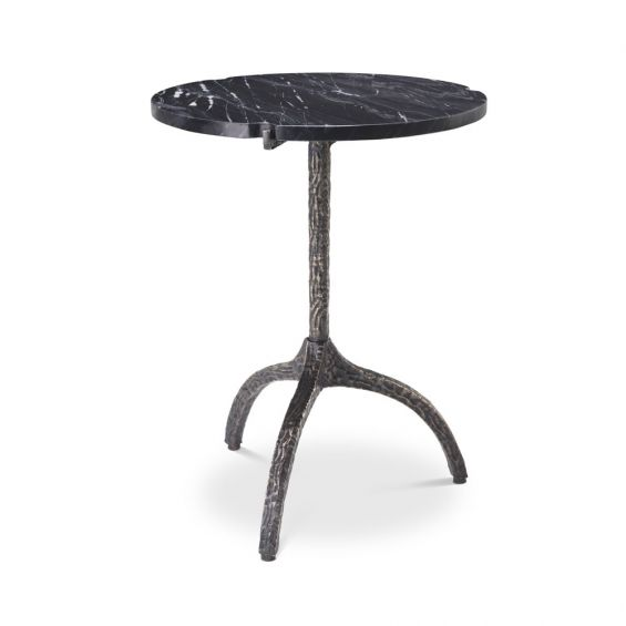 A chic black marble side table with a hammered black gunmetal base