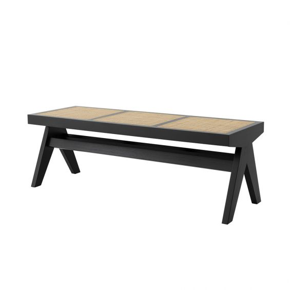 Black framed bench with rattan seat base