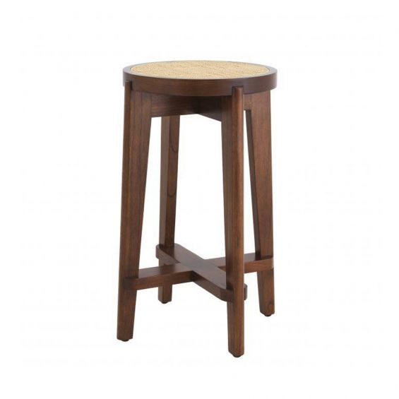 A stylish Scandinavian-inspired rattan counter stool with a brown finish