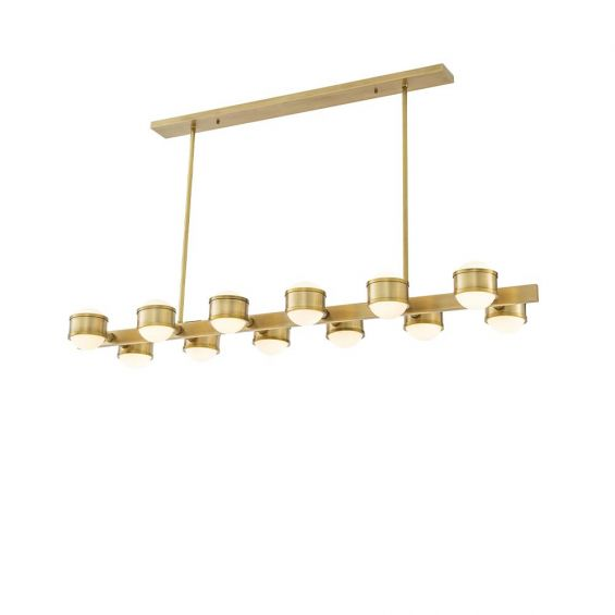 A contemporary 12 light chandelier made up of brass rings and finished in an antique brass.