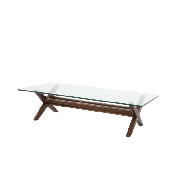 A stylish natural danish-inspired coffee table with a glass tabletop