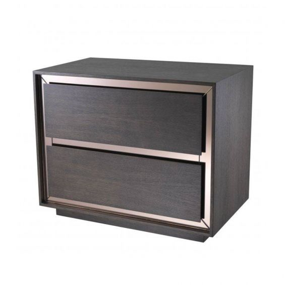 A luxurious modern side table made from mahogany and oak with bronze mirror glass details