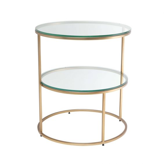 Brushed brass finish side table with multiple circular glass shelving