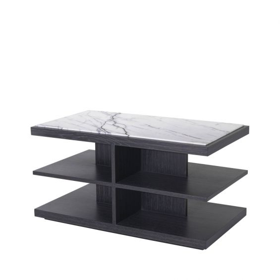 Charcoal grey oak veneer side table with multiple shelving and a white marble surface
